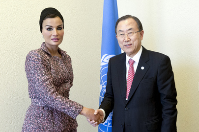Secretary-General Meets Qatari First Lady and MDG Advocate