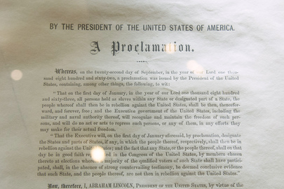 Original Signed Copy of Emancipation Proclamation at UNHQ for Slavery Exhibit