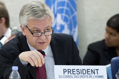 President of Human Rights Council Speaks at 22nd Session
