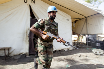 UNMISS Peacekeeper on Camp Defence Drill