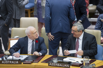 Gary Quinlan (left), Permanent Representative of Australia to the UN, with Agshin Mehdiyev, Permanent Representative of the Republic of Azerbaijan to the UN, at the Council meeting. 25 April 2013 United Nations, New York