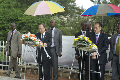 Secretary-General and World Bank President Lay Wreaths at Rwandan Genocide Memorial