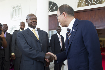 Secretary-General and President of World Bank Meet with President of Uganda