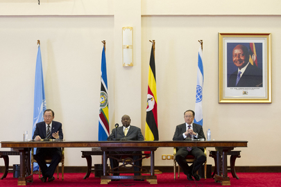 Secretary-General and World Bank President Meet with President of Uganda