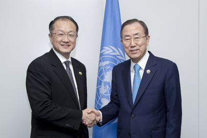 Secretary-General Ban Ki-moon (right) meets with Jim Yong Kim, President of the World Bank Group. 01 June 2013 Yokohama, Japan