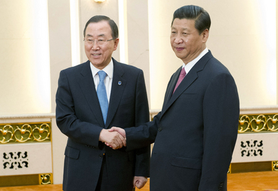 Secretary-General Ban Ki-moon (left) meets with Xi Jinping, President of the People's Republic of China. 19 June 2013 Beijing, China