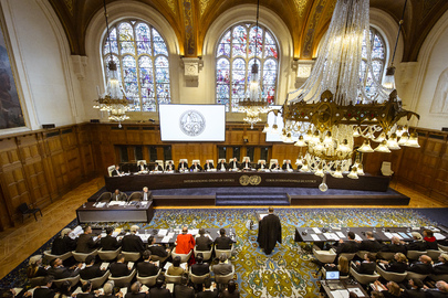 View of the courtroom of the International Court of Justice at the opening of the hearings. 26 June 2013 The Hague, Netherlands