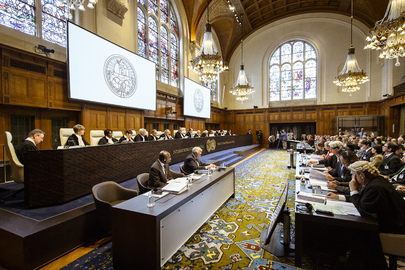 Judges of the International Court of Justice at the opening of the hearings. 26 June 2013 The Hague, Netherlands