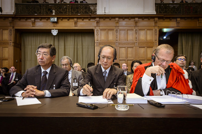 Members of the delegation of Japan at the opening of the hearings. 26 June 2013 The Hague, Netherlands