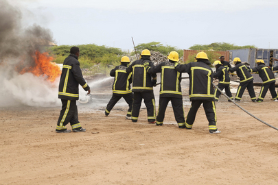 Newly Trained Somali Firemen Demonstrate Skills