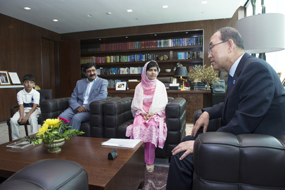 Secretary-General Meets Education Rights Campaigner Malala Yousafzai