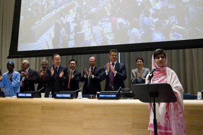 Malala Addresses Youth Assembly for Universal Primary Education