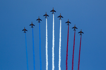 Planes Flying in Formation at Bastille Day Military Parade