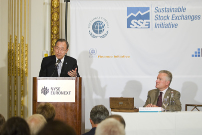 Secretary-General Welcomes NYSE Euronext to UN Sustainable Stock Exchanges Initiative