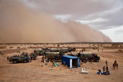 Sandstorm over French Military Camp in Kidal, Mali