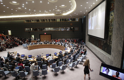 A wide view of the Security Council open debate on protection of civilians in armed conflict. 19 August 2013 New York, United Nations