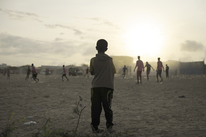 Boys Play Football Near IDP Camp in Mogadishu