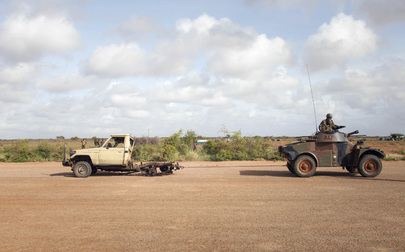 AMISOM Removes Destroyed Al-Shabaab Vehicle at Kismayo Airport, Somalia