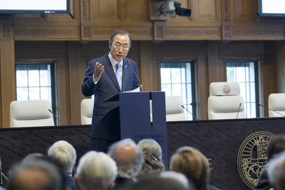 Secretary-General Ban Ki-moon speaks at the ceremony marking the 100th anniversary of the Peace Palace, seat of the International Court of Justice, in The Hague. 28 August 2013 The Hague, Netherlands