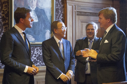 Secretary-General with Dutch Leaders at Peace Palace, The Hague