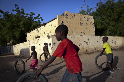 Children Play by Bullet Riddled Police Station in Gao, Mali