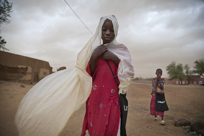 Children Walk During Sand Storm in Gao, Mali