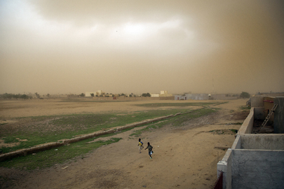 Children Run from Sand Storm in Gao, Mali