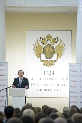 Secretary-General Delivers Lecture at St. Petersburg State University