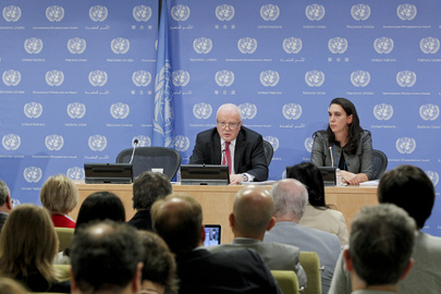 Gary Quinlan (facing camera, left), Permanent Representative of Australia to the UN and President of the Security Council for the month of September, briefs journalists on the Council's programme of work for the month. 04 September 2013 United Nations, New York