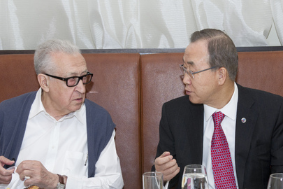 Secretary-General Ban Ki-moon (right) with Lakhdar Brahimi (left), Joint Special Representative of the UN and the League of Arab States for Syria, in St. Petersburg, host city of the 2013 G-20 Summit. In meetings with world leaders on the margins of the Summit, the Secretary-General and the Joint Special Representative have been urging for renewed efforts to rapidly convene the Geneva conference for Syria as soon as possible. 06 September 2013 St. Petersburg, Russian Federation Photo # 560239
