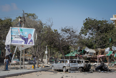 Repair of Power Lines in Aftermath of Suicide Car Bomb, Mogadishu