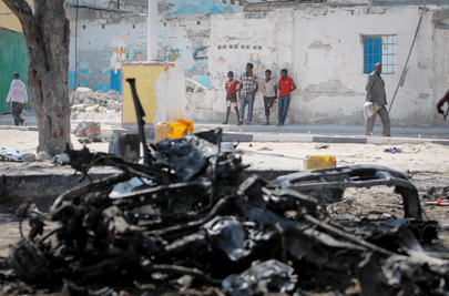 Wreckage of Suicide Car Bomb in Mogadishu
