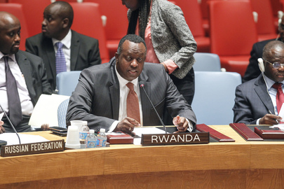 Permanent Representative of Rwanda at Security Council Meeting