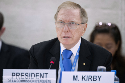 Michael Kirby, Chairperson of the Commission of Inquiry on Human Rights in the Democratic People's Republic of Korea (DPRK), speaks at an interactive dialogue with the Human Rights Council. 17 September 2013 Geneva, Switzerland Photo # 560998