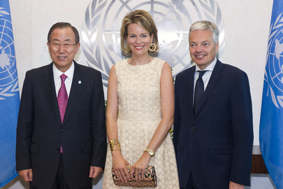Secretary-General Meets Queen of Belgium and Belgian Foreign Minister