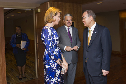 Secretary-General with Queen of Belgium and Belgian Foreign Minister at Global Compact Summit