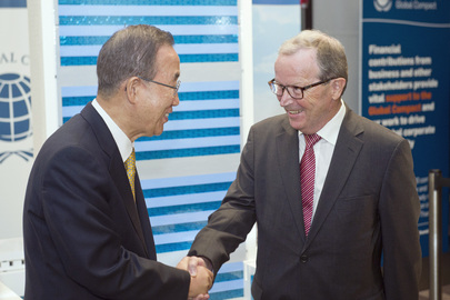 Secretary-General with Chairman of LEGO Foundation at Global Compact Summit