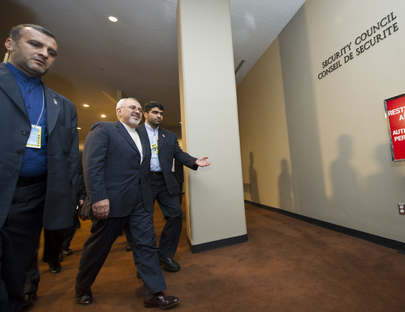 Iranian Foreign Minister Arrives at Consultations Room