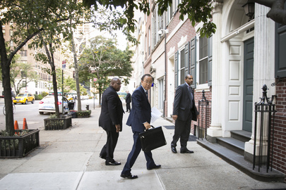 Secretary-General Arriving at His Residence at End of Assembly's General Debate Week