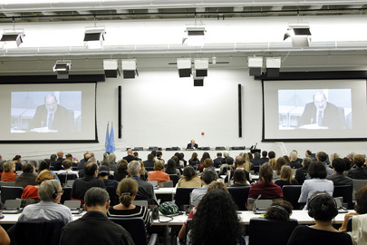 Author Umberto Eco Delivers Lecture at UN