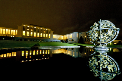 View of Palais des Nations by Night, Geneva