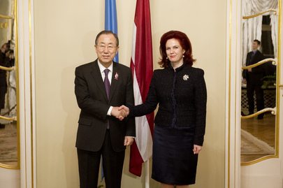 Secretary-General Meets Speaker of Latvian Parliament