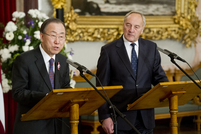 Secretary-General and Latvian President Brief Press