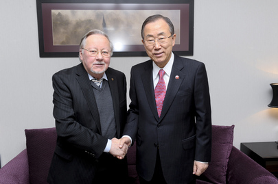 Secretary-General Meets Former Chair of Lithuanian Supreme Council