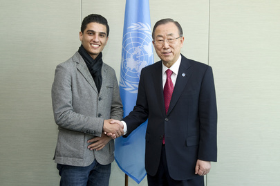 Secretary-General Meets UNRWA Youth Ambassador and Arab Idol