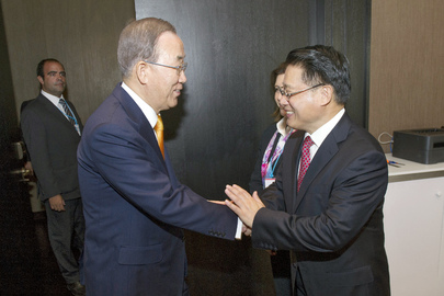 Secretary-General Greeted by UNIDO Chief in Lima