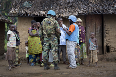 MONUSCO Peacekeepers Patrol Town of Pinga, Noth Kivu