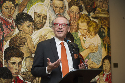"Rededication of Norman Rockwell ""Golden Rule"" Mosaic"