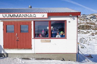 School Children Await Secretary-General in Uummannaq, Greenland