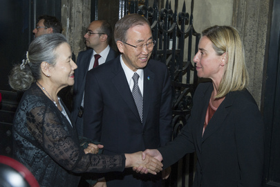 Secretary-General Meets Italian Foreign Minister at Expo 2015 Event